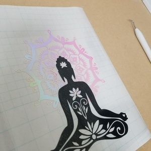 """Black buddha with holographic flower decal 9"""""""